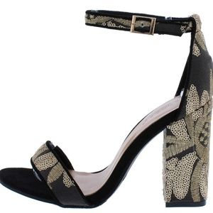 INFLUENCER17M BLACK EMBROIDERED OPEN TOE BLOCK HEE